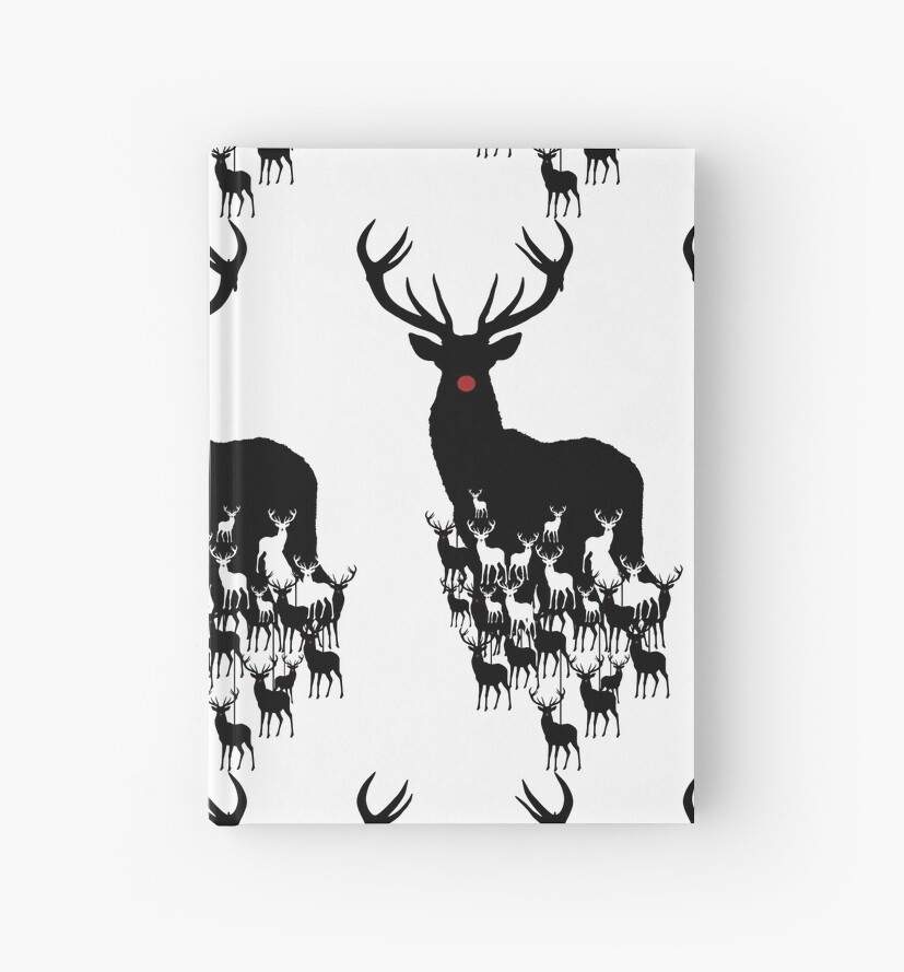 Rudolph The Red Nosed Reindeer Pattern Hardcover Journals By