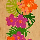 Limahuli Garden Faux Wood Hawaiian Surfboard - Orange and Violet by DriveIndustries