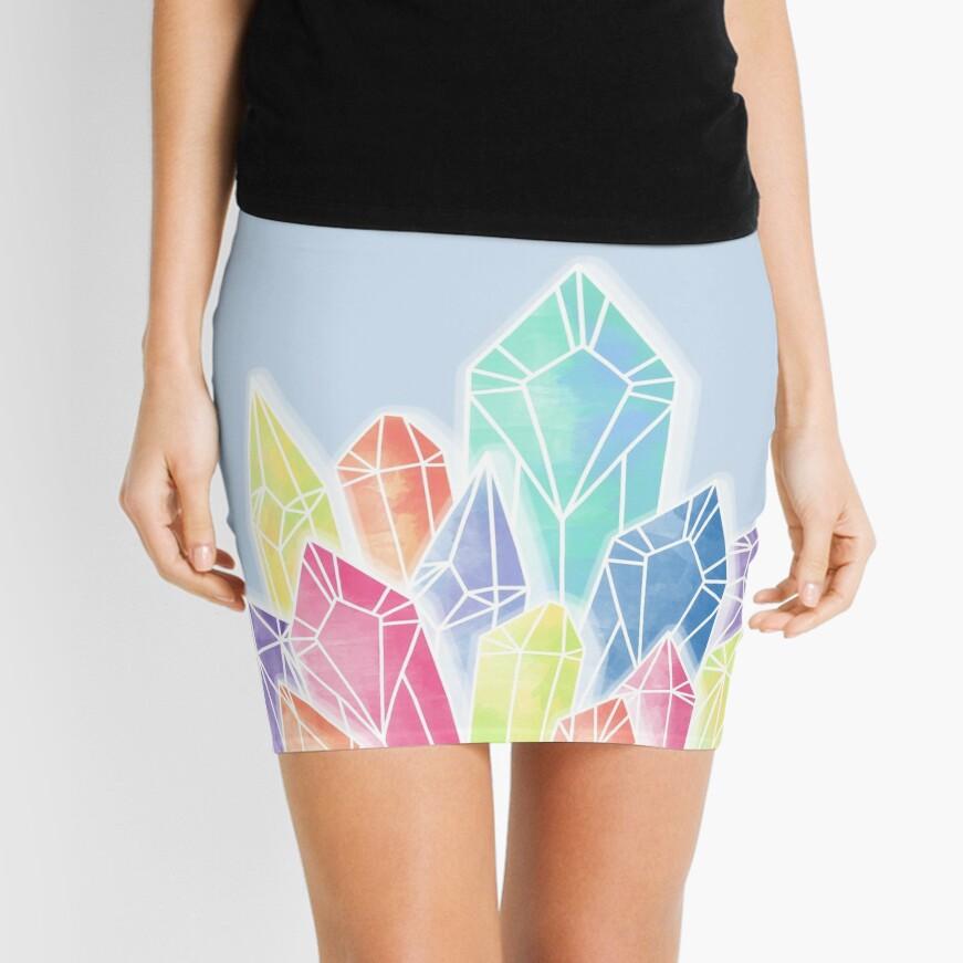 Crystals Blue Mini Skirt