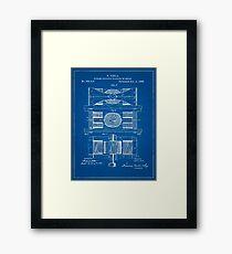 1888 Nikola Tesla Electric Dynamo Patent Blueprint Framed Print