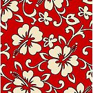 Malia Hawaiian Hibiscus Aloha Shirt Print - Red by DriveIndustries