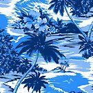 Napili Bay Scenic Hawaiian Aloha Shirt Print - Blue by DriveIndustries
