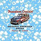 Freedom Cruisin' Patriotic Hawaiian Surf Woody - Sky Blue by DriveIndustries