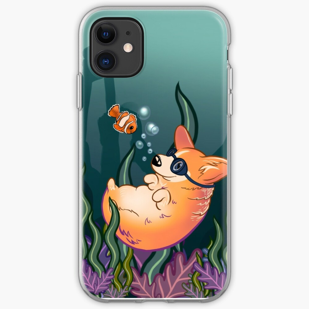 Underwater Corgi  and Clown Fish iPhone Case & Cover