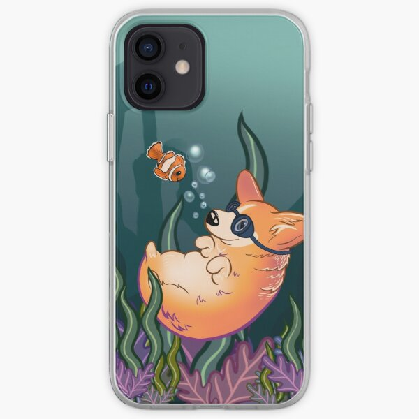 Underwater Corgi  and Clown Fish iPhone Soft Case