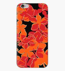 Hanalei Hawaiian Floral Camo Aloha Shirt Print - Red, Orange & Black iPhone Case