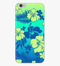 Kona Blend Hawaiian Hibiscus Aloha Shirt Print- Turquoise iPhone Case