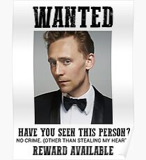 wanted: tom hiddleston Poster