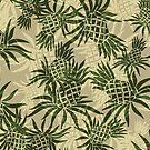 Pineapple Camo Hawaiian Aloha Shirt Print - Olive & Khaki by DriveIndustries
