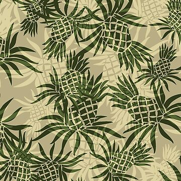 Pineapple Camo Hawaiian Aloha Shirt Print - Olive & Khaki by DriveIndustries