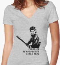 Steve Fighting (Stranger Things) Women's Fitted V-Neck T-Shirt