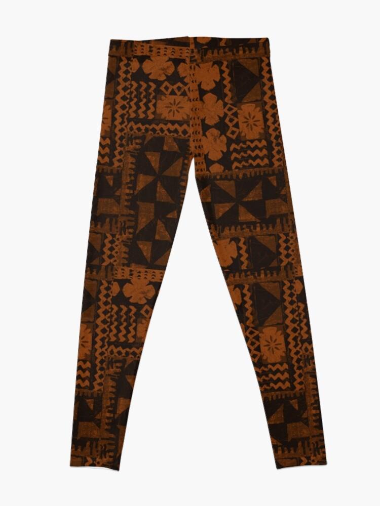 Alternate view of Kalalau Tapa Hawaiian Hibiscus Vintage Aloha Print - Orange & Brown Leggings
