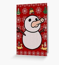 Christmas Penis Snowman Sweater (not ugly) (white) Greeting Card