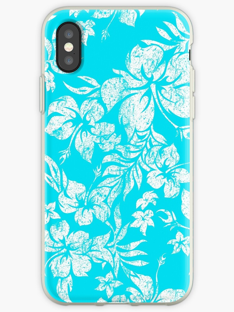 Hibiscus Pareau Hawaiian Vintage Aloha Shirt Print - Turquoise by DriveIndustries