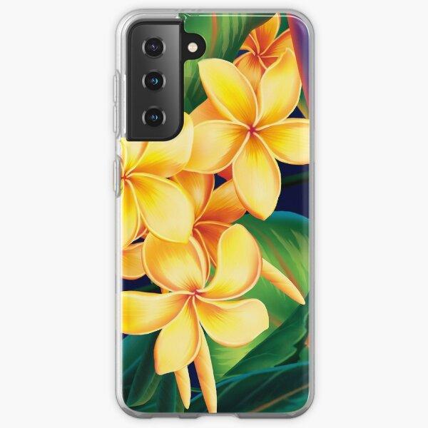Tropical Paradise Hawaiian Plumeria Illustration Samsung Galaxy Soft Case