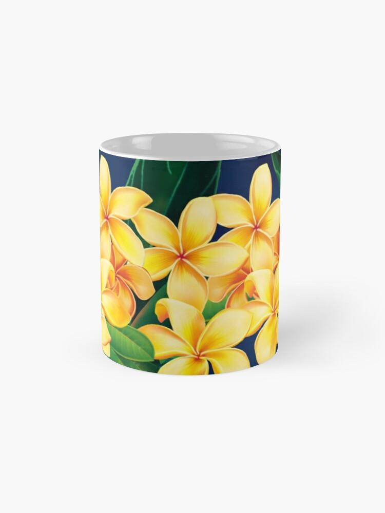 Alternate view of Tropical Paradise Hawaiian Plumeria Illustration Classic Mug