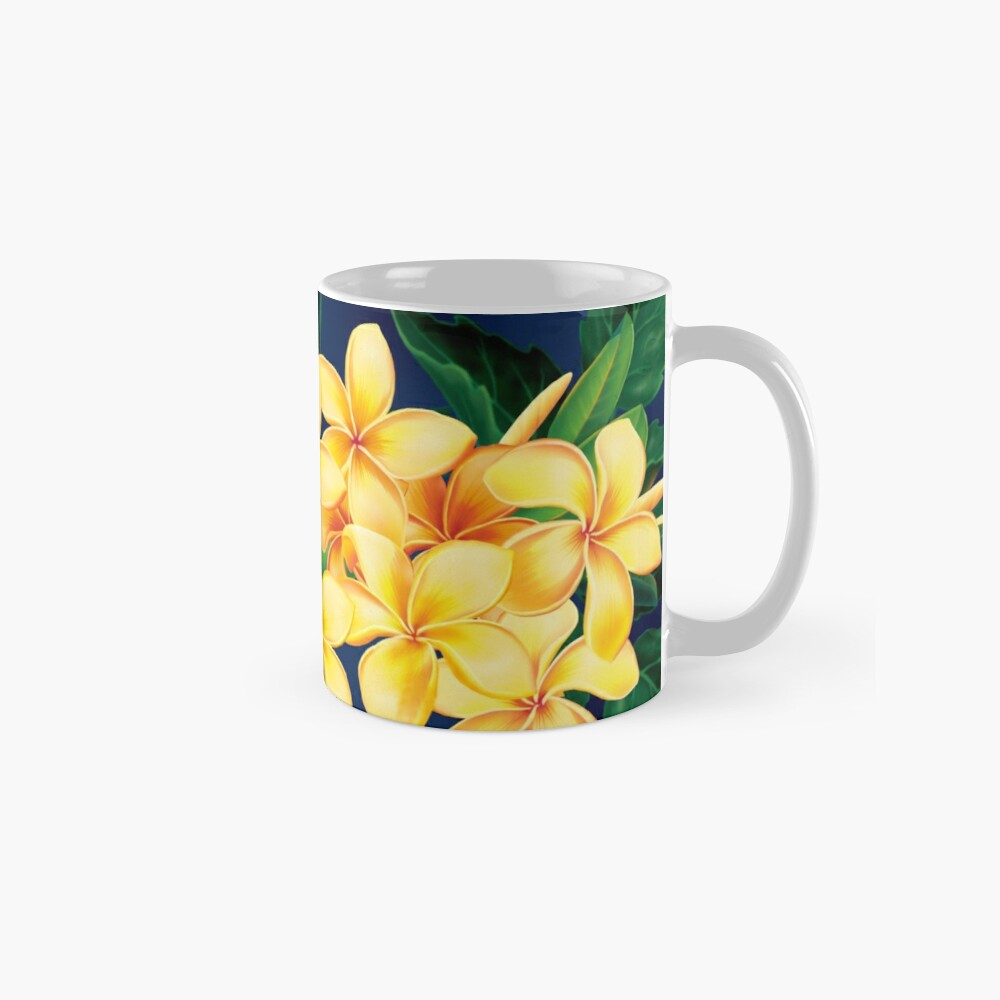 Tropical Paradise Hawaiian Plumeria Illustration Classic Mug