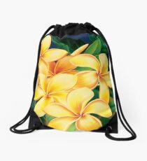 Tropical Paradise Hawaiian Plumeria Illustration Drawstring Bag