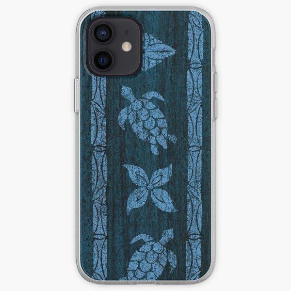 Samoan Tapa Faux Koa Wood Hawaiian Surfboard - Blue iPhone Soft Case