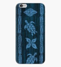 Samoan Tapa Faux Koa Wood Hawaiian Surfboard - Blue iPhone Case