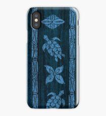 Samoan Tapa Faux Koa Wood Hawaiian Surfboard - Blue iPhone Case/Skin