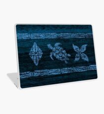 Samoan Tapa Faux Koa Wood Hawaiian Surfboard - Blue Laptop Skin