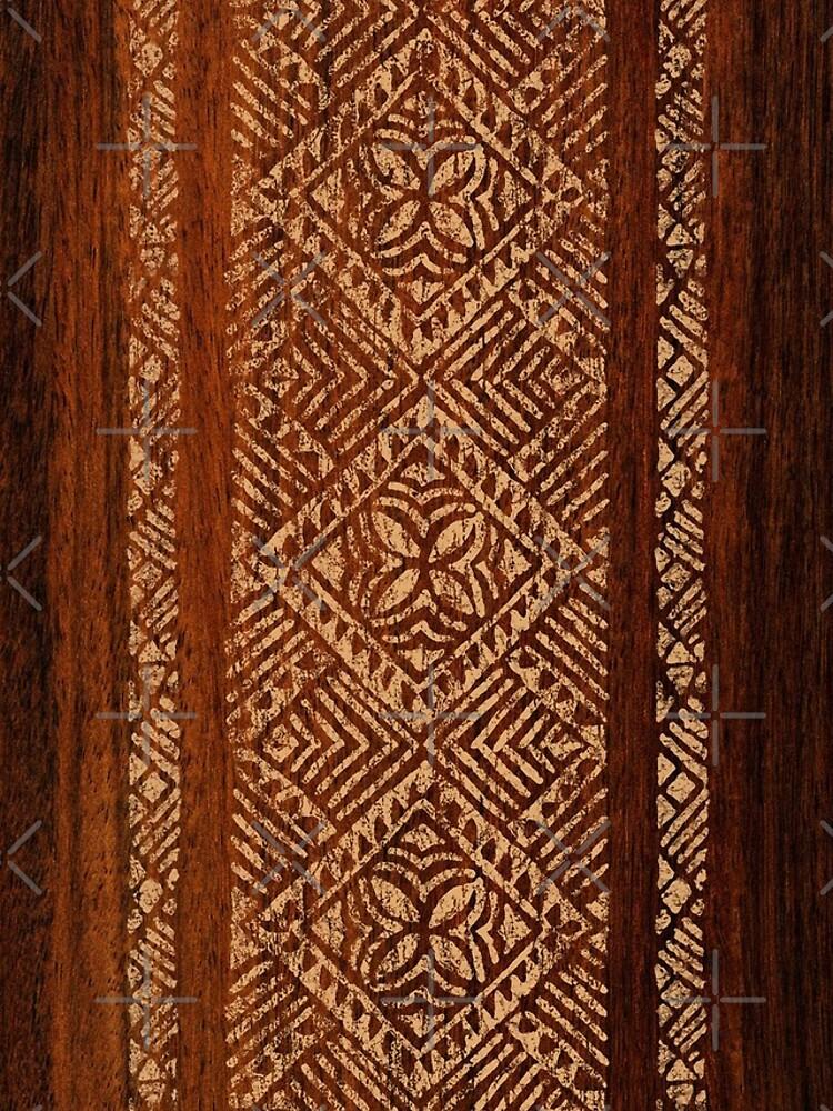 Samoan Tapa Faux Koa Wood Hawaiian Surfboard  by DriveIndustries