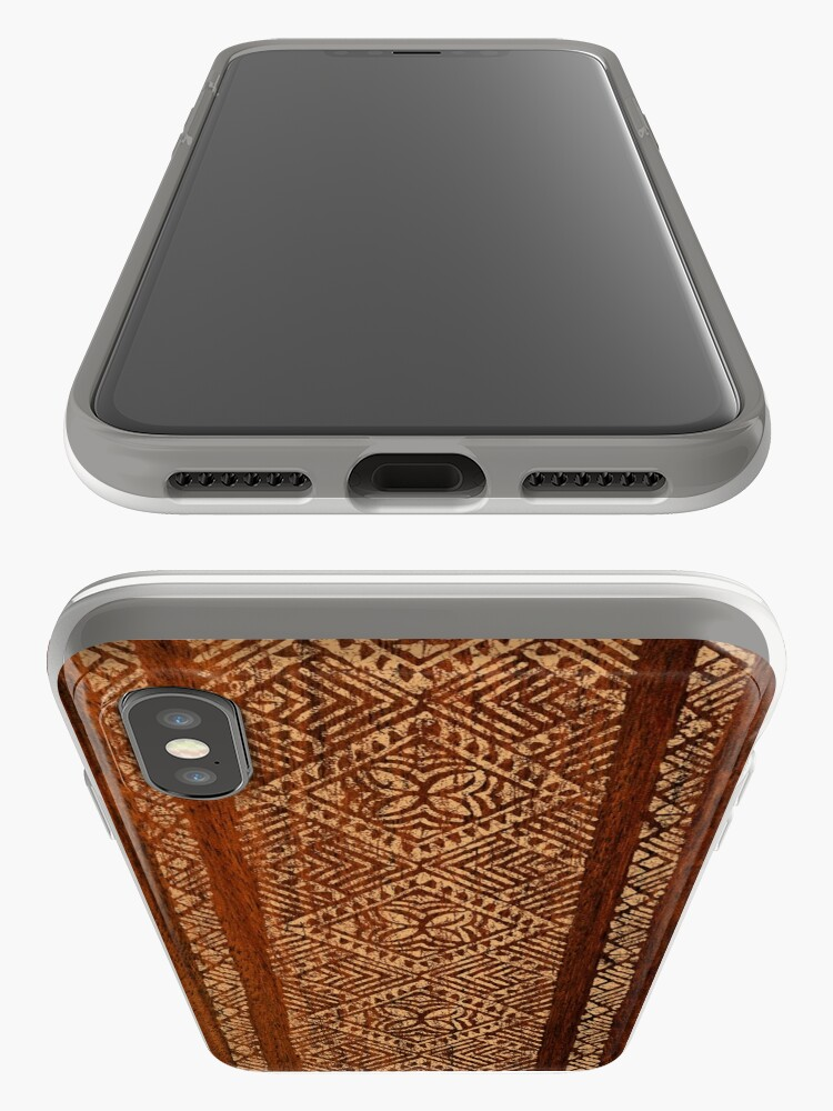 Alternate view of Samoan Tapa Faux Koa Wood Hawaiian Surfboard  iPhone Cases & Covers