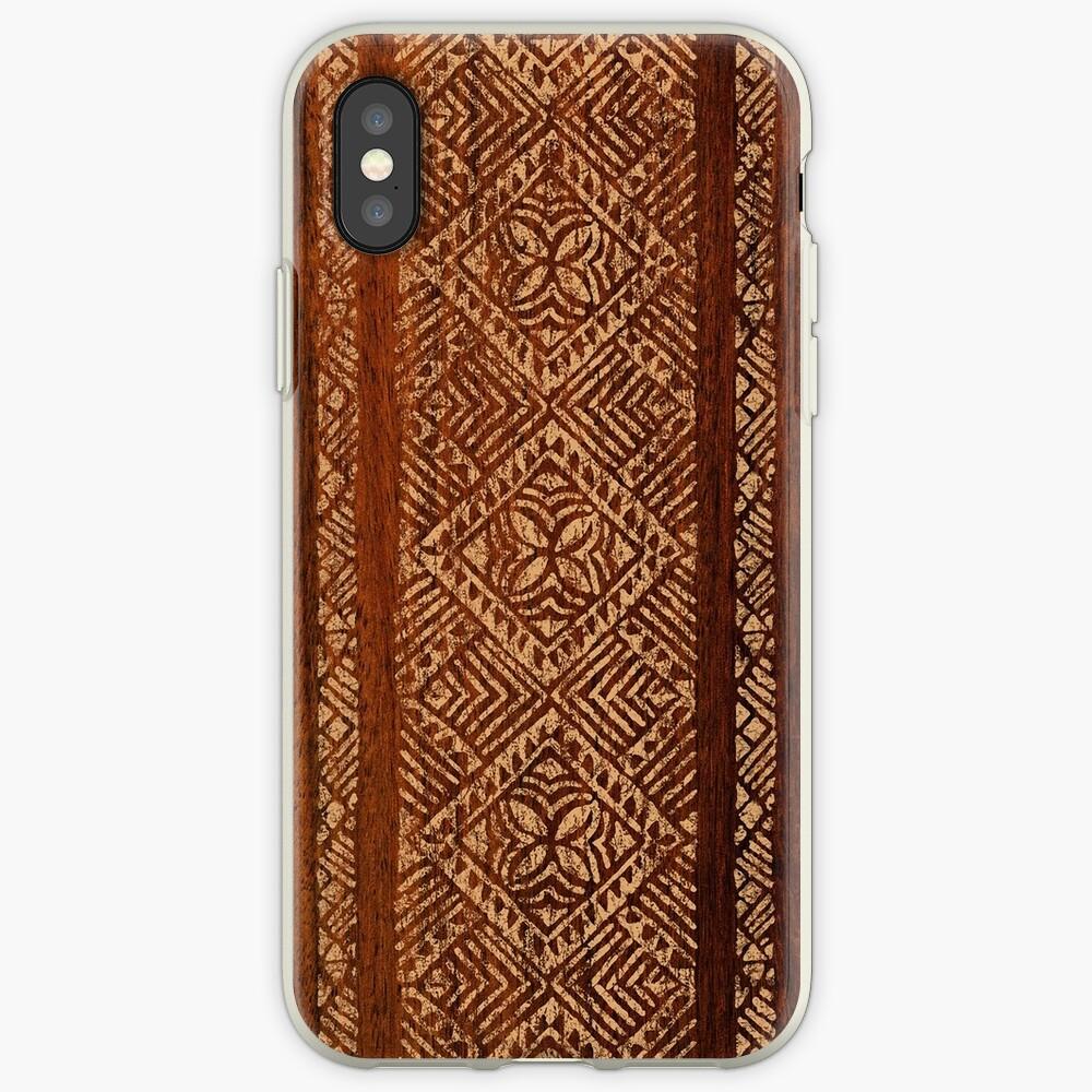 Samoan Tapa Faux Koa Wood Hawaiian Surfboard  iPhone Cases & Covers