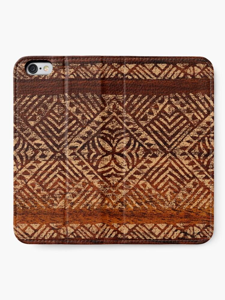 Vista alternativa de Fundas tarjetero para iPhone Samoan Tapa Faux Koa Wood Hawaiian Surfboard