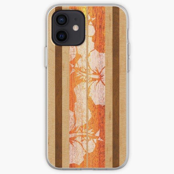 Haleiwa Hawaiian Faux Maple planche de surf en bois - Orange Coque souple iPhone