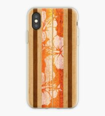 Haleiwa Hawaiian Faux Maple Wood Surfboard - Orange  iPhone Case