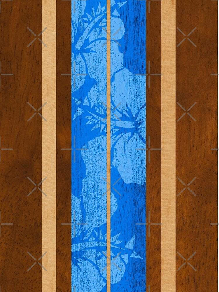 Haleiwa Hawaiian Faux Koa Wood Surfboard - Ocean Blue by DriveIndustries