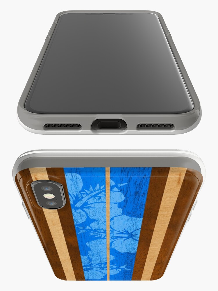 Alternate view of Haleiwa Hawaiian Faux Koa Wood Surfboard - Ocean Blue iPhone Cases & Covers