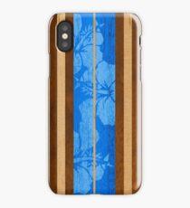Haleiwa Hawaiian Faux Koa Wood Surfboard - Ocean Blue iPhone Case/Skin
