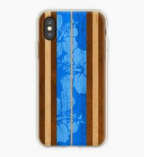Haleiwa Hawaiian Faux Koa Wood Surfboard - Ocean Blue iPhone Case