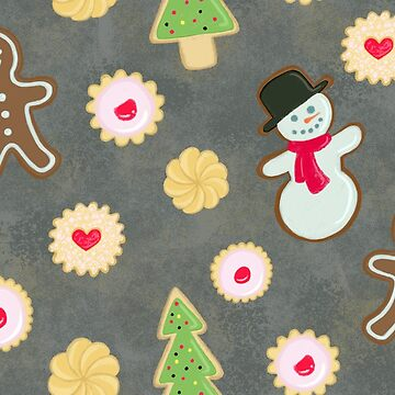 Holiday Gingerbread and Sugar Cookies on Grey Background by carabara