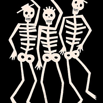 Dancing Skeleton Skull Men - Goth Punk Ska Weirdos by ThatBenWalker