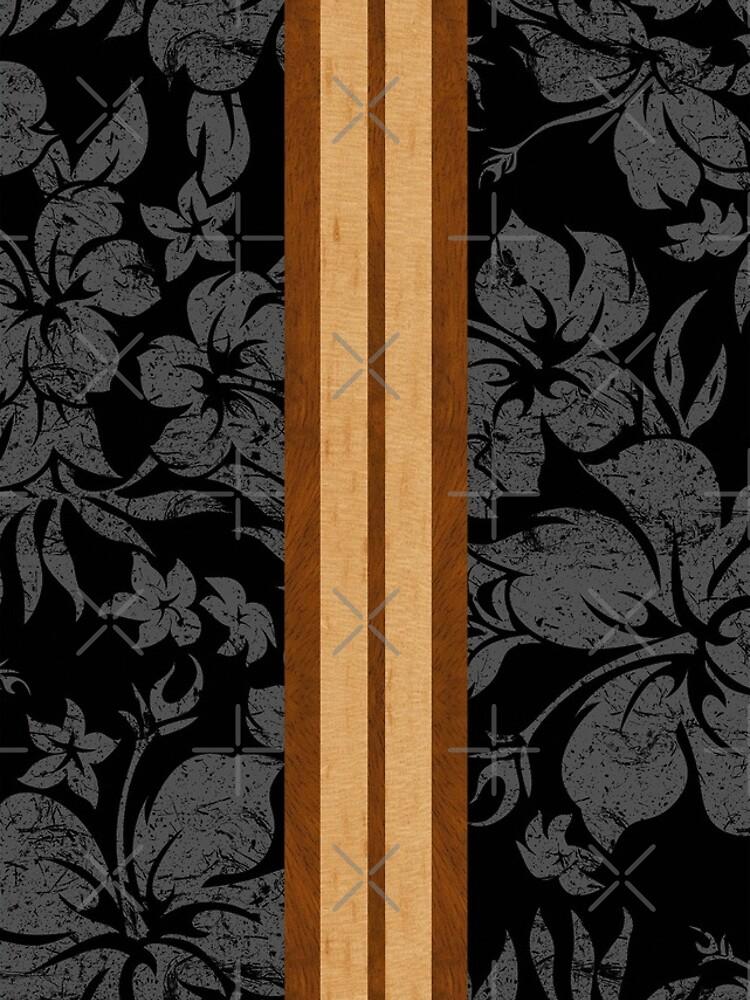 Sunset Beach Hawaiian Faux Koa Wood Surfboard - Black and Gray by DriveIndustries