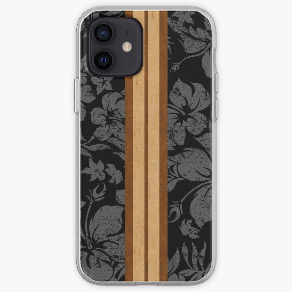 Sunset Beach Hawaiian Faux Koa Wood Surfboard - Black and Gray iPhone Soft Case