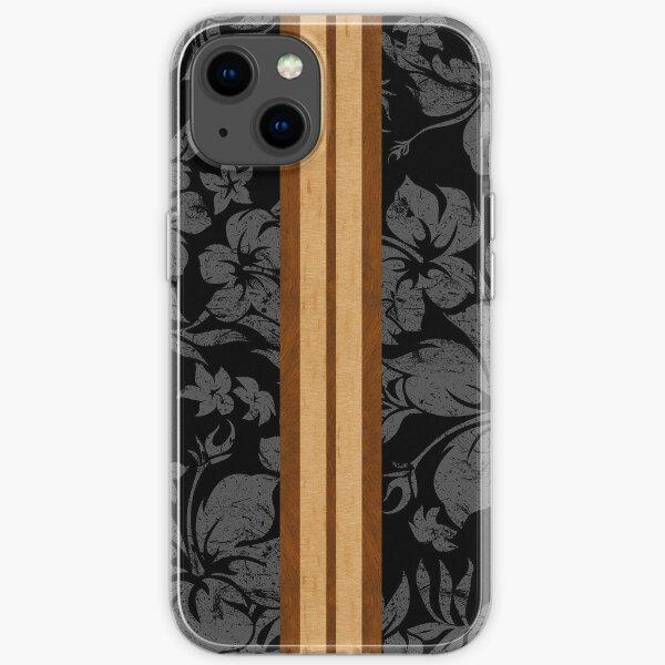 Sunset Beach Hawaiian Faux Koa Wood Surfboard - Black and Gray iPhone Soft Case