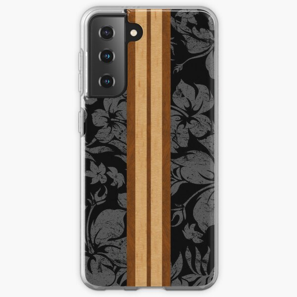 Sunset Beach Hawaiian Faux Koa Wood Surfboard - Black and Gray Samsung Galaxy Soft Case