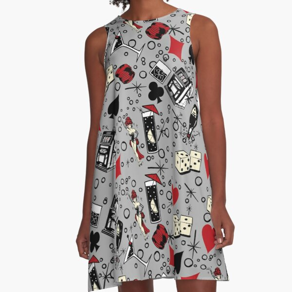 Viva Vegas Retro Casino Print - Red, Black and Gray A-Line Dress