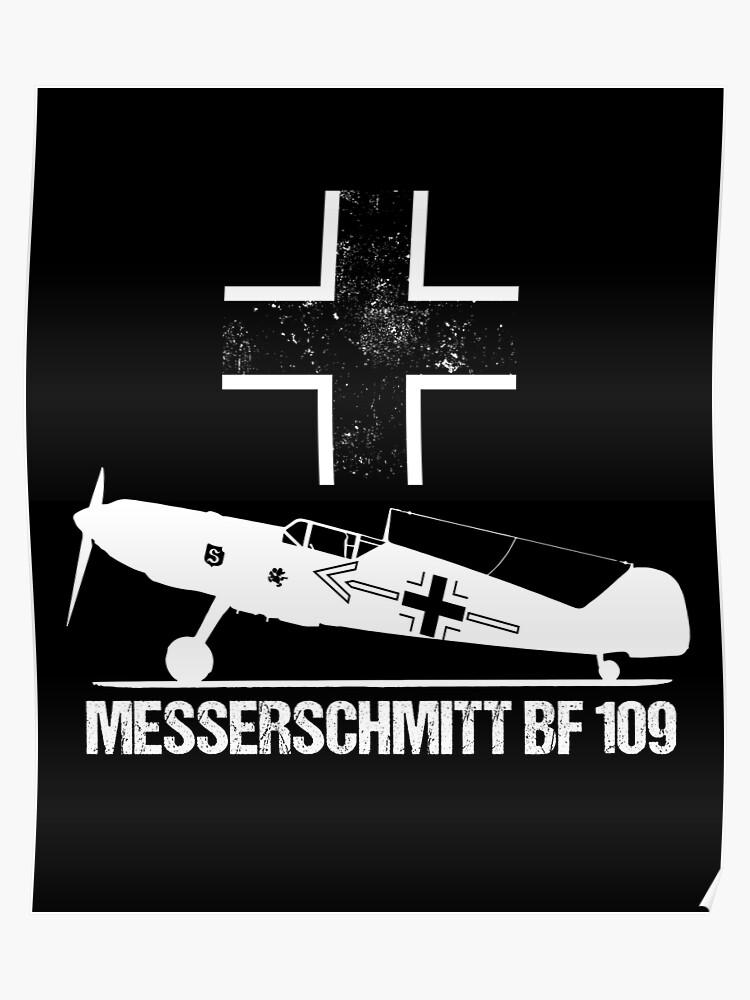 Messerschmitt BF109 Warbird T-Shirt ME109 German WW2 Military Aircraft    Poster