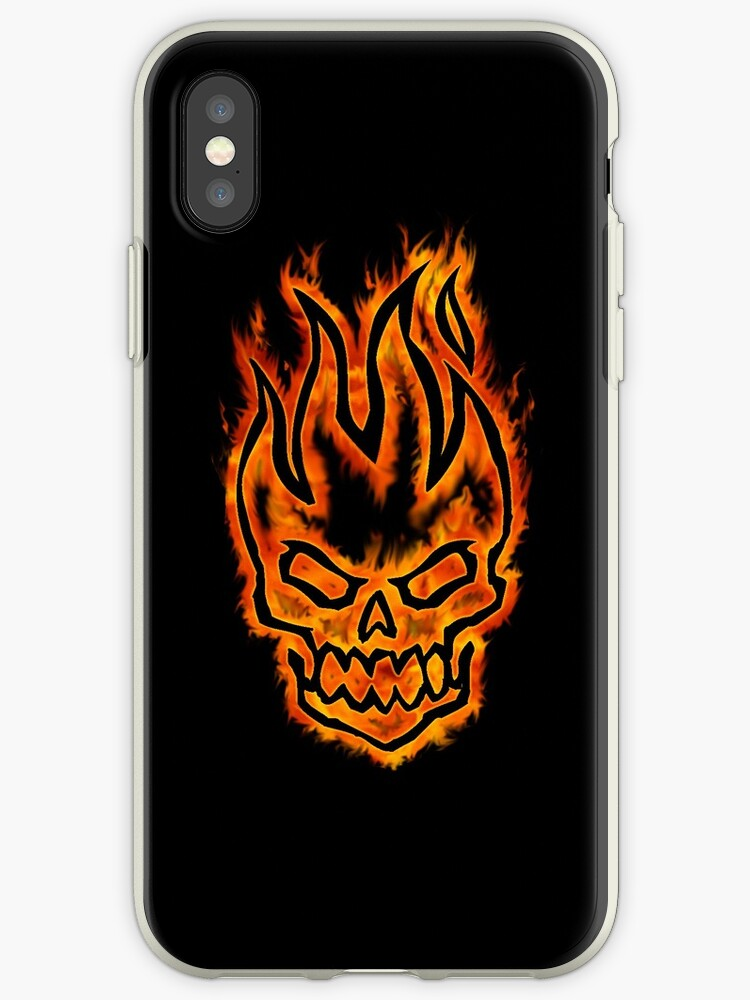 Hard Core Illustrated Flaming Skull - Black Background by DriveIndustries