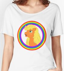 G1 my little pony applejack rainbow frame Women's Relaxed Fit T-Shirt
