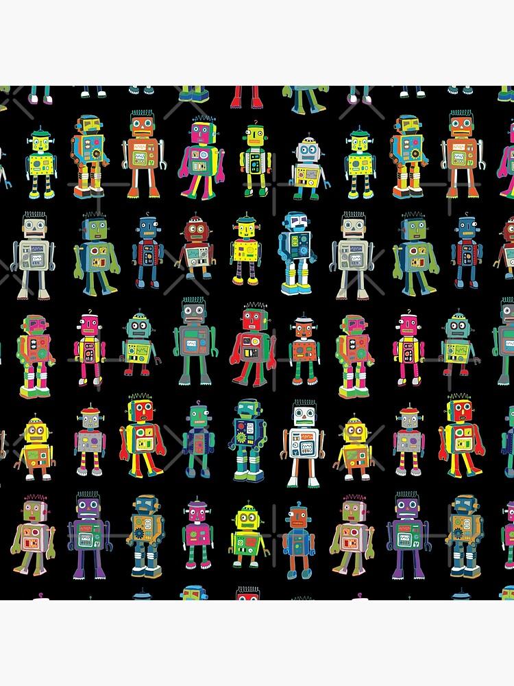 Robot Line-up on Black - fun pattern by Cecca Designs by Cecca-Designs