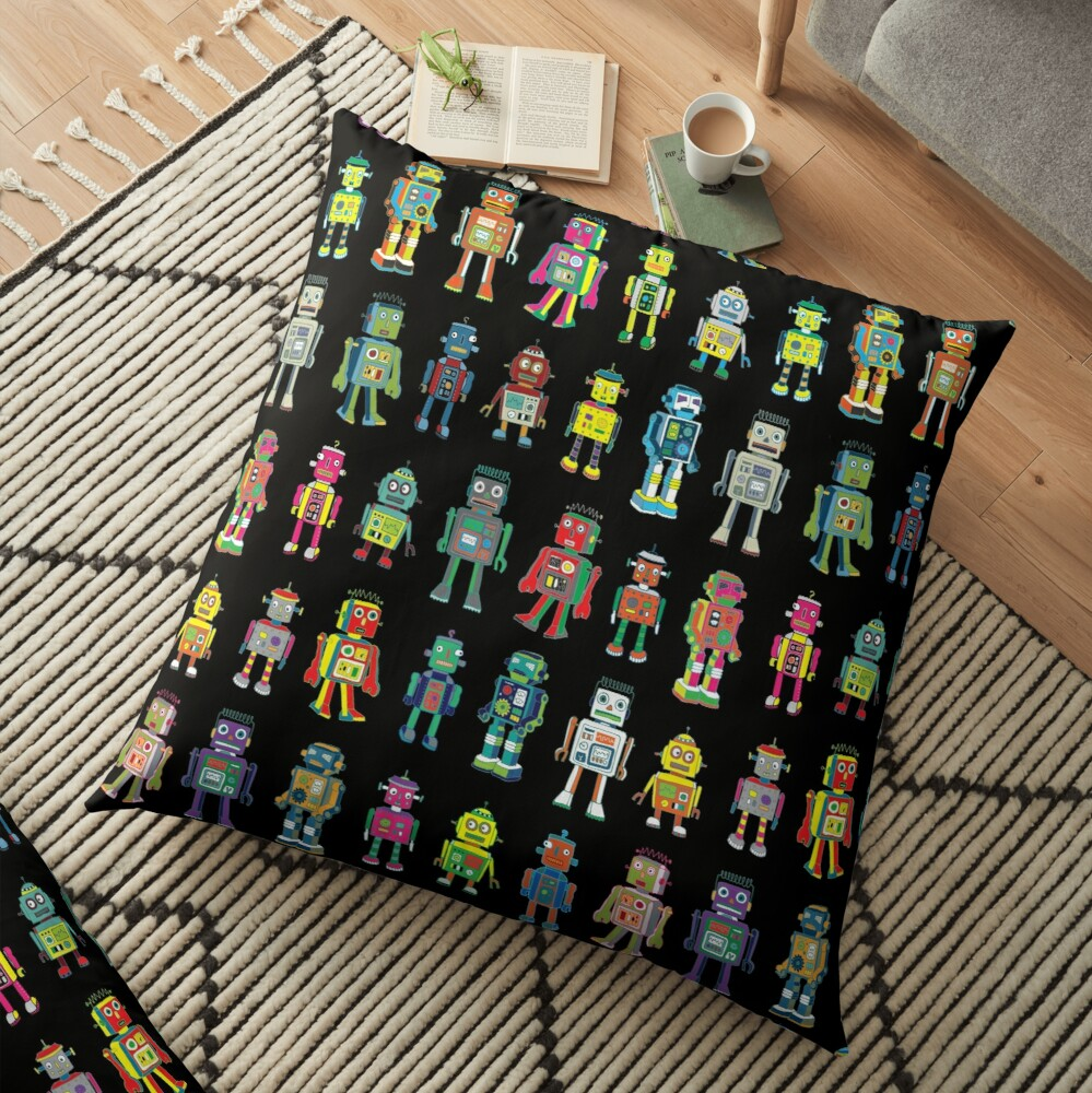 Robot Line-up on Black - fun pattern by Cecca Designs Floor Pillow