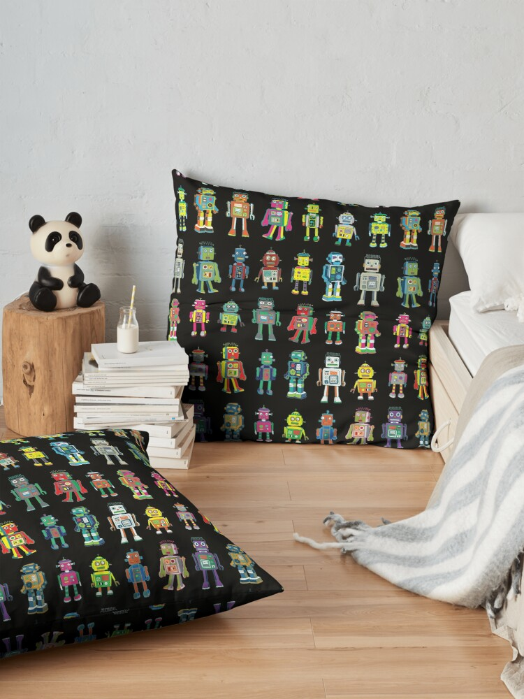 Alternate view of Robot Line-up on Black - fun pattern by Cecca Designs Floor Pillow