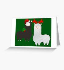 christmas reindeer alpacas Greeting Card
